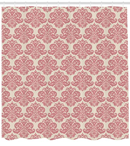 Lunarable Dusty Rose Shower Curtain By Antique Damask Motifs Ornate Victorian Feminine Pattern Old Fashioned