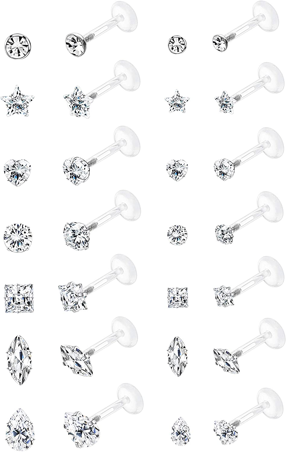 Jstyle 14Pairs 16G Forward Helix Cartilage Tragus Earring Studs Internal Threaded Labret Lip Monroe Ring 8MM Barbell Body Piercing Jewelry