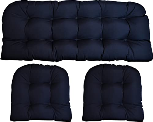 RSH DECOR Sunbrella Canvas Navy 3 Piece Wicker Cushion Set – Indoor Outdoor Wicker Loveseat Settee 2 Matching Chair Cushions – Blue