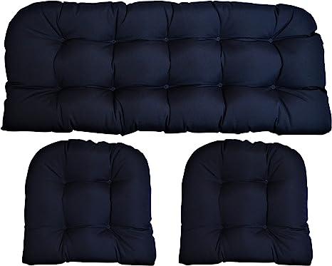 Amazon Com Sunbrella Canvas Navy 3 Piece Wicker Cushion Set Indoor Outdoor Wicker Loveseat Settee 2 Matching Chair Cushions Blue Kitchen Dining