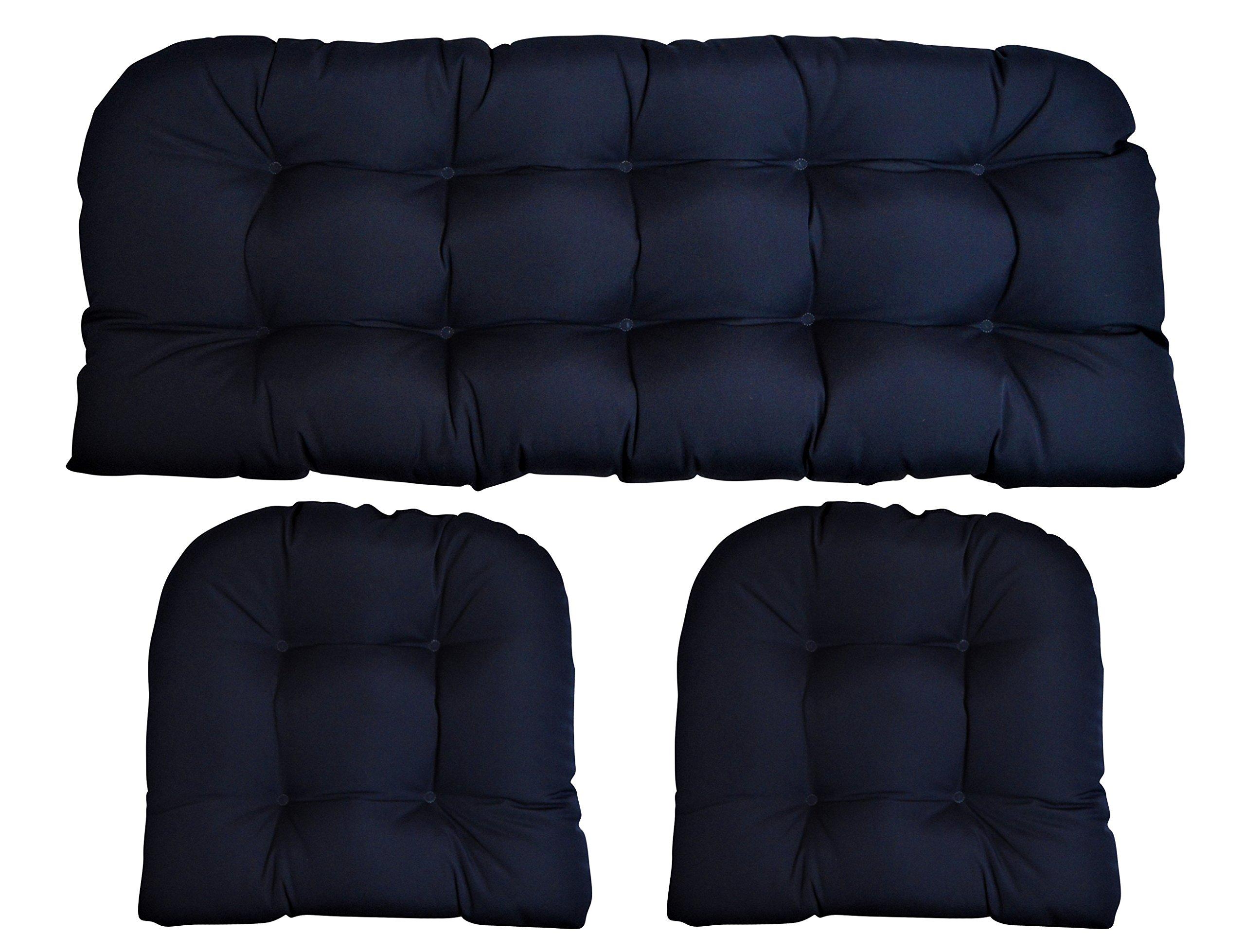 Sunbrella Canvas Navy 3 Piece Wicker Cushion Set - Indoor / Outdoor Wicker Loveseat Settee & 2 Matching Chair Cushions - Blue