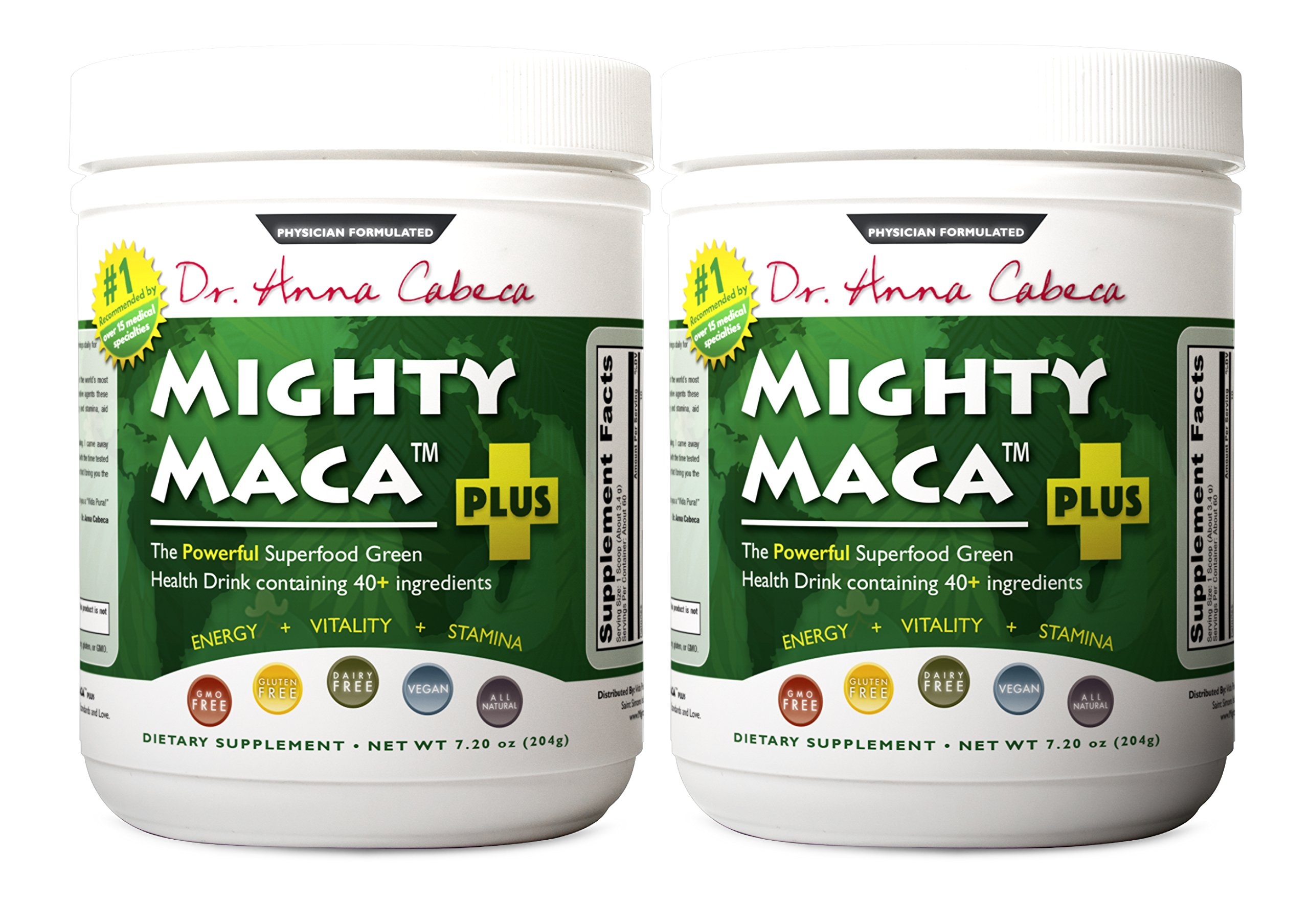 Mighty Maca Plus (2 Pack) - Delicious, All-Natural, Organic Maca Superfoods Greens Drink, Allergen & Gluten Free, Vegan, Powder by VidaPura