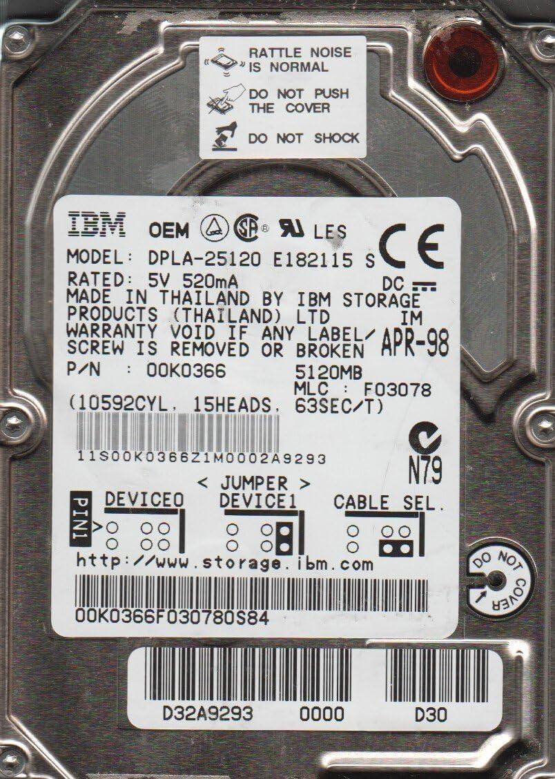 IBM 5.1GB IDE 2.5 Hard Drive DPLA-25120 PN 00K0366 MLC F03078