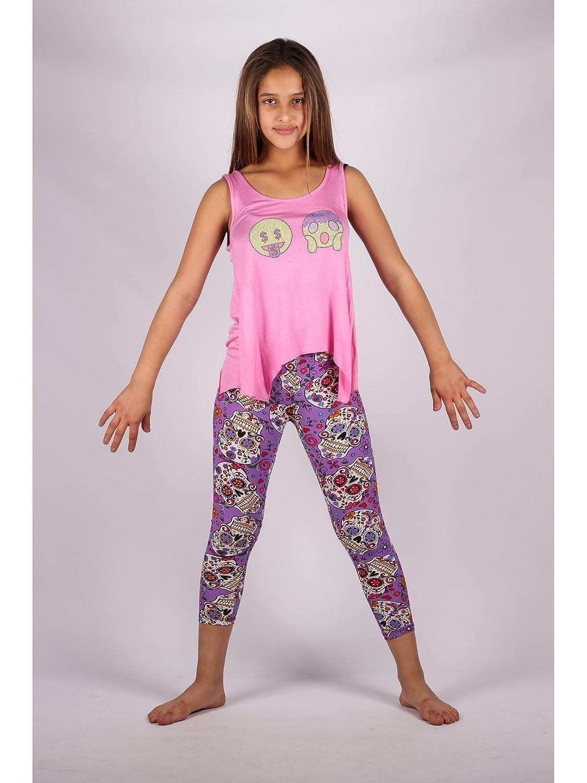 Lori /& Jane Big Girls Pink Purple Emoticons Summer Leggings Outfit Set 6-14