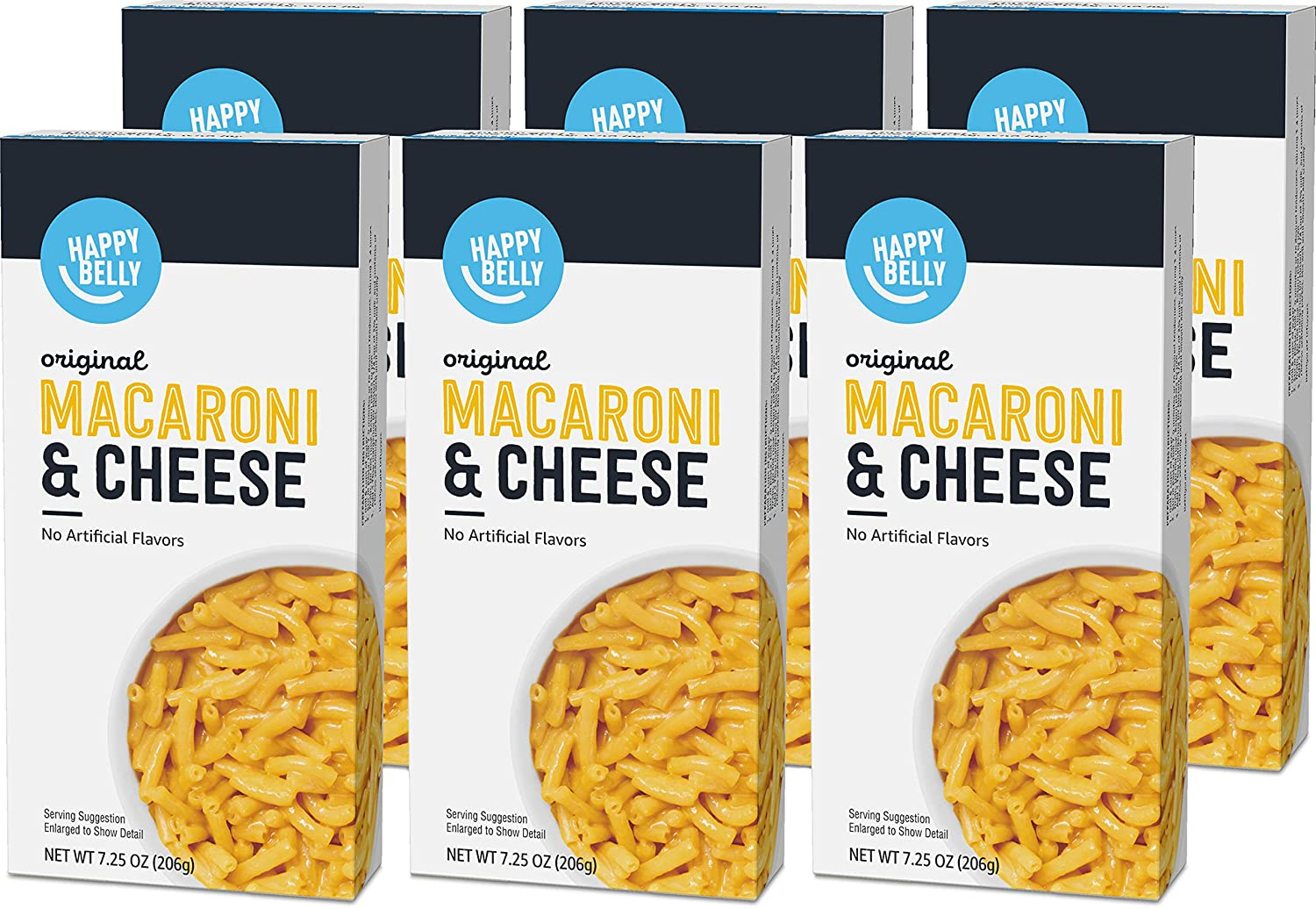 Amazon Brand - Happy Belly Original Macaroni & Cheese, 7.25 oz (Pack of 6)