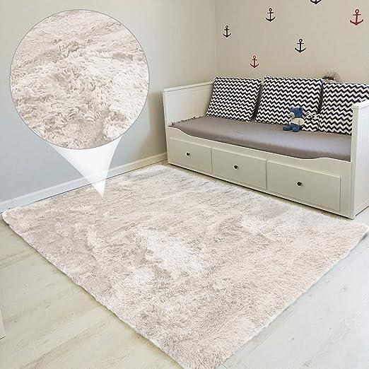 Amazinggirl alfombras Salon Grandes - Pelo Largo Alfombra habitación Dormitorio Lavables Comedor Moderna vivero Blanco 100 x 160 cm: Amazon.es: Hogar