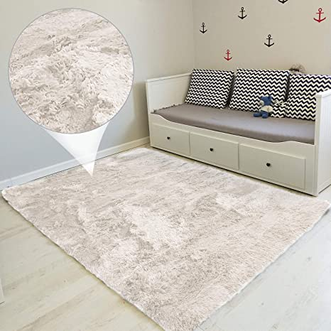 Amazinggirl alfombras Salon Grandes - Pelo Largo Alfombra habitación  Dormitorio Lavables Comedor Moderna vivero Blanco 100 x 160 cm