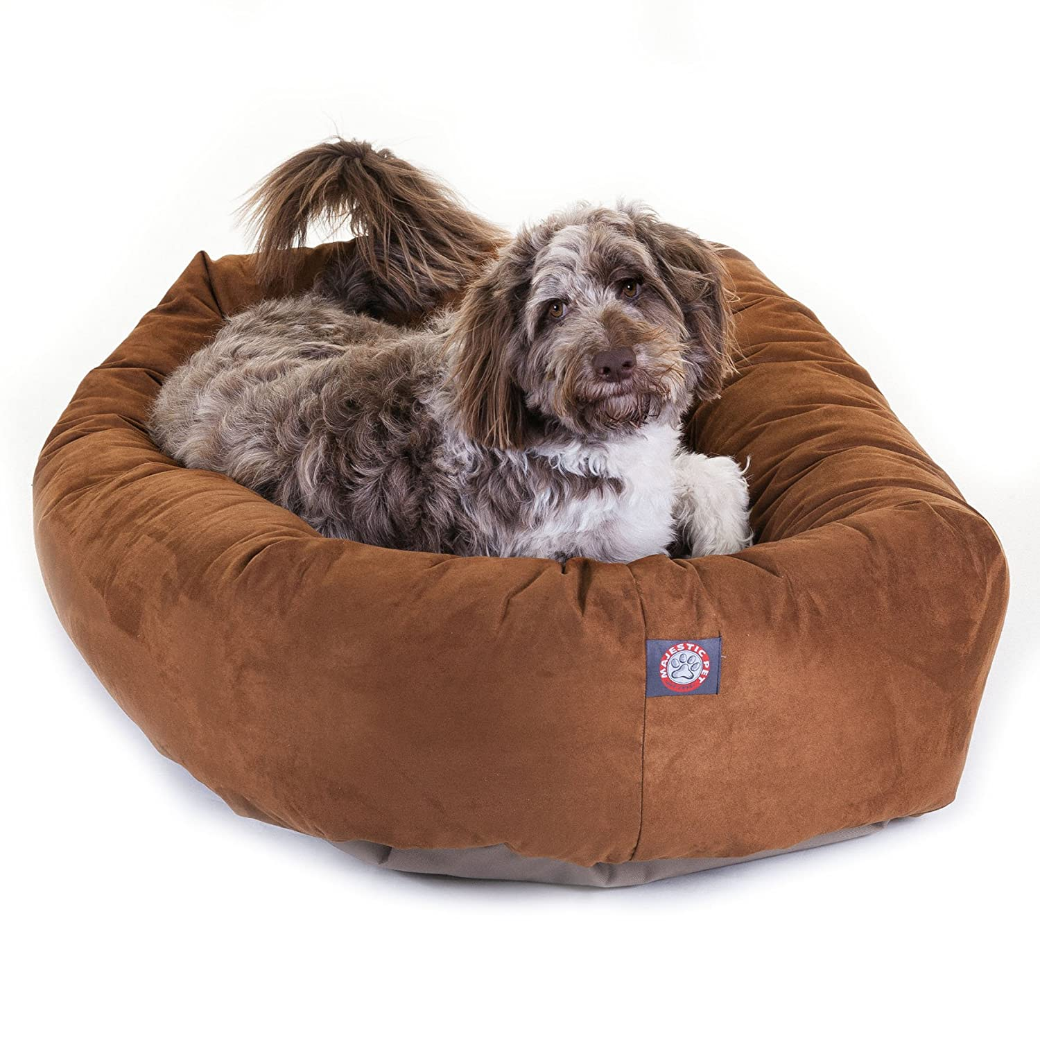 amazon com 52 inch rust suede bagel dog bed by majestic pet
