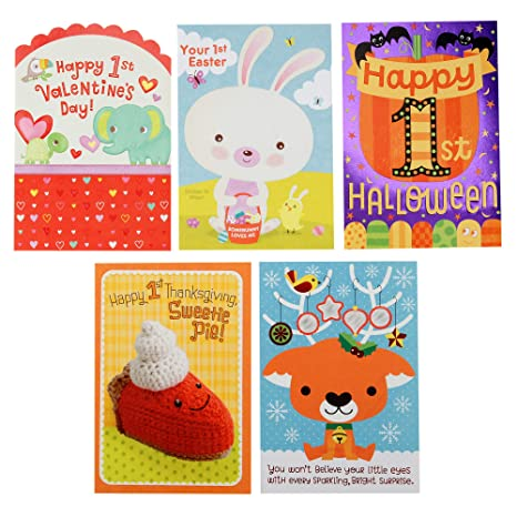Christmas Halloween Thanksgiving.Hallmark Baby S 1st For All Seasons Card Assortment Halloween Thanksgiving Christmas Valentine S Day Easter 5 Cards With Envelopes