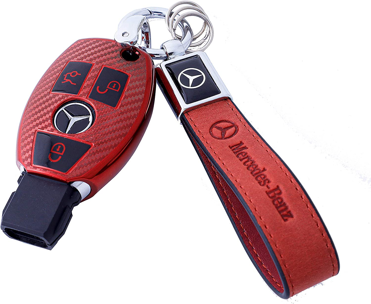 for Mercedes Benz Key Fob Cover Premium Soft TPU Carbon Fiber Key Case Cover Compatible with Mercedes Benz C E S M CLS CLK G Class Keyless Smart Key Fob+1pac Keychain Pink