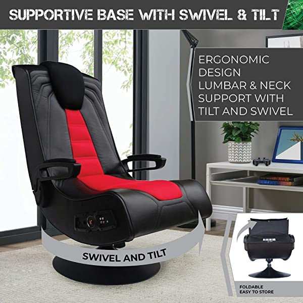X Rocker Pedestal Extreme III 2.1 Sound Wireless Video Foldable Gaming Chair w/Pedestal Base and 2 Speaker High Tech Audio System - Subwoofer
