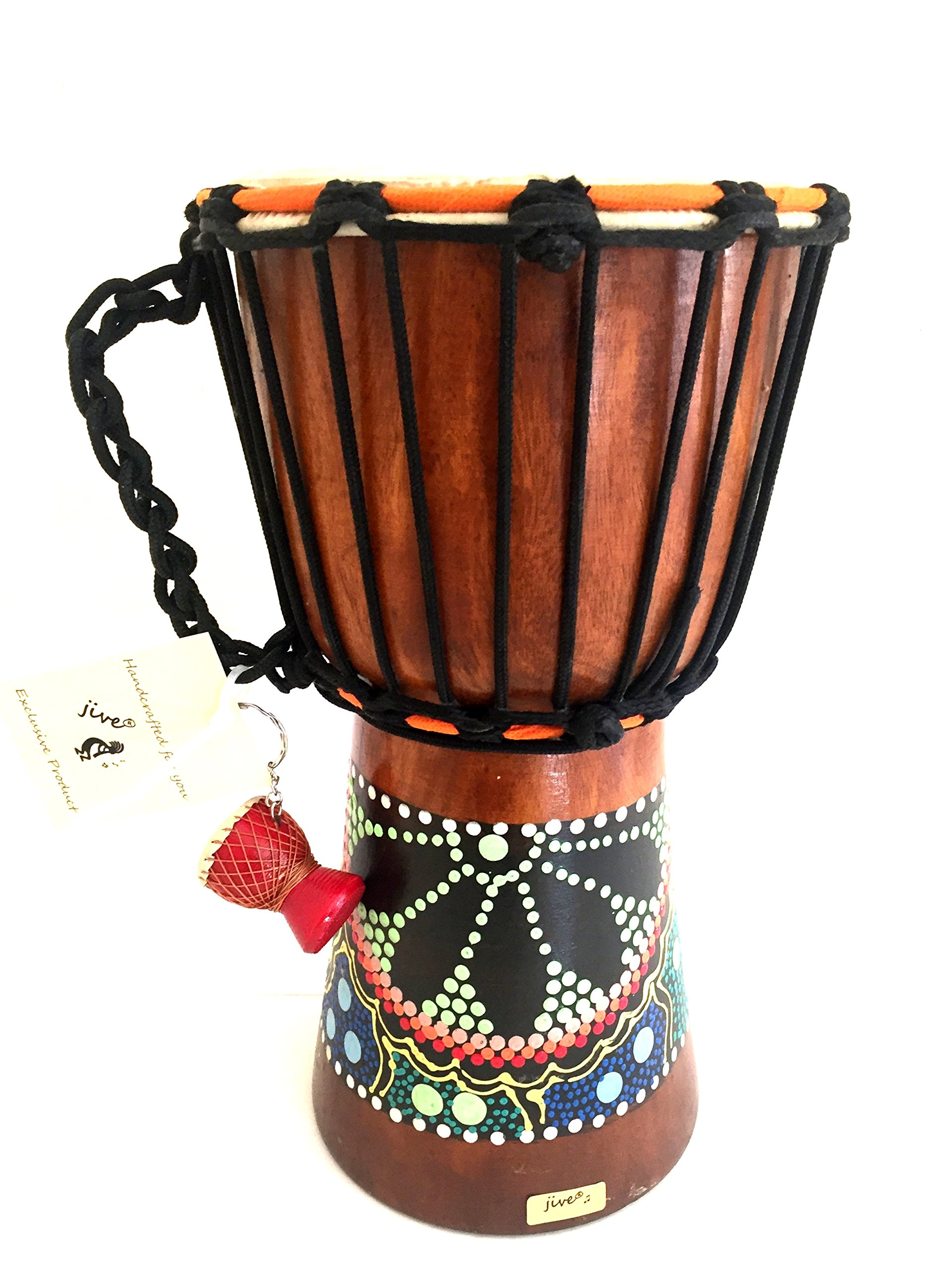 Djembe Drum Bongo Congo African Wood Drum - MED SIZE- 12'' High, JIVE (TM) BRAND, Professional Premium Quality With Heavy Base/Includes Drum Key Chain