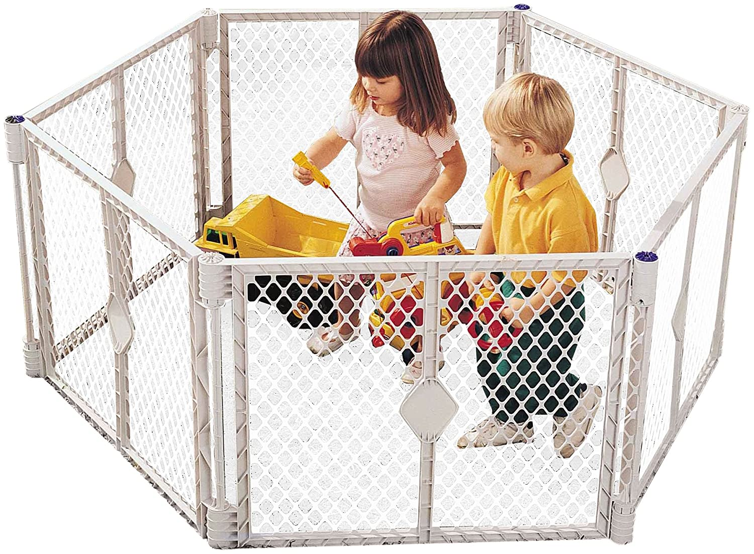 """Superyard Colorplay 8-Panel"" by North States: Freestanding, portable play yard to keep children safe indoors or outdoors. Freestanding. 256"" length, 34.4 sq. ft. enclosure (26"" tall, Multicolor) 8768"