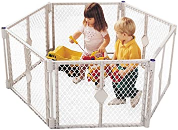 North States Superyard Play Yard, Grey, 6 Panel