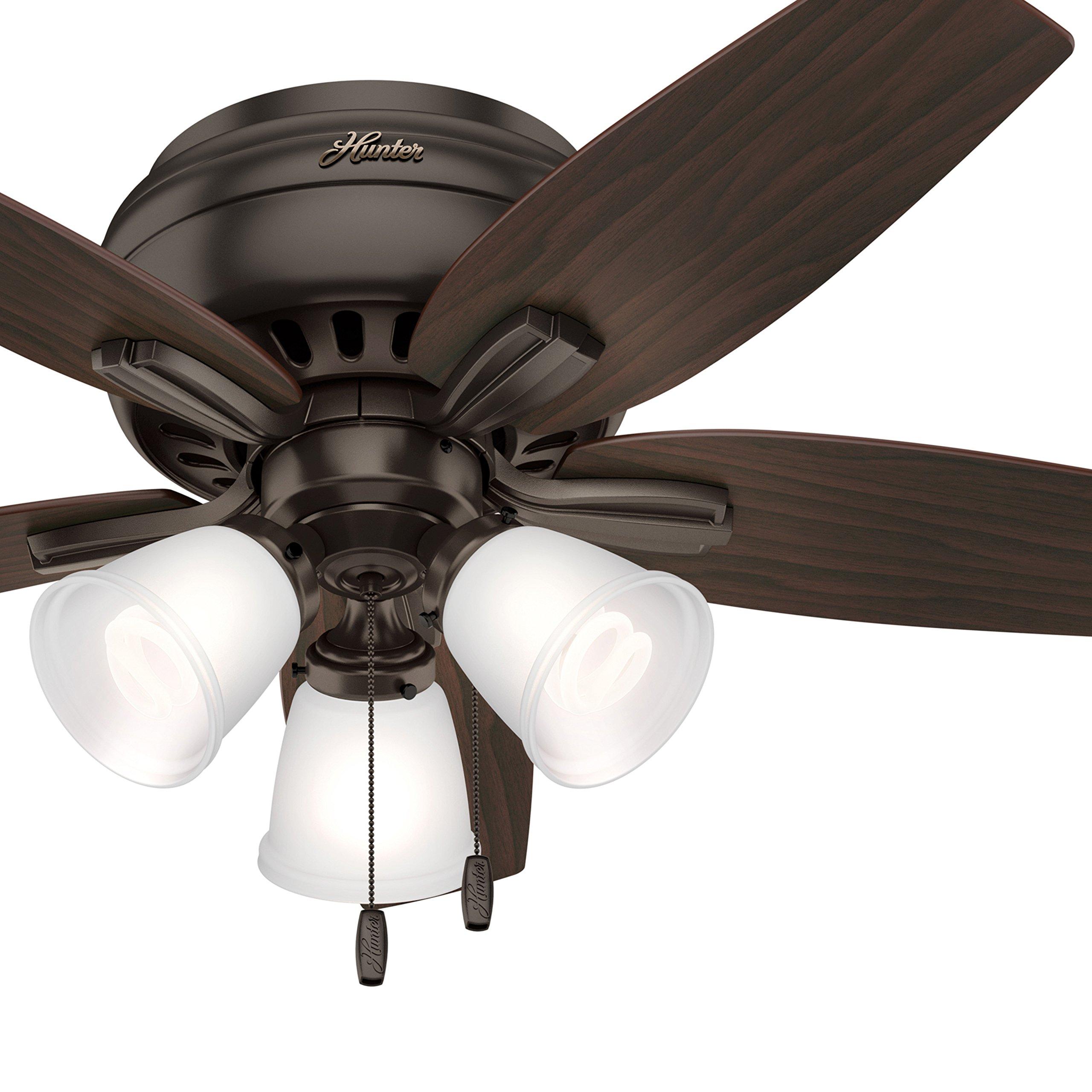 Hunter Fan 42 in. Flush Mount Ceiling Fan with 3 Lights, Premier Bronze (Certified Refurbished)