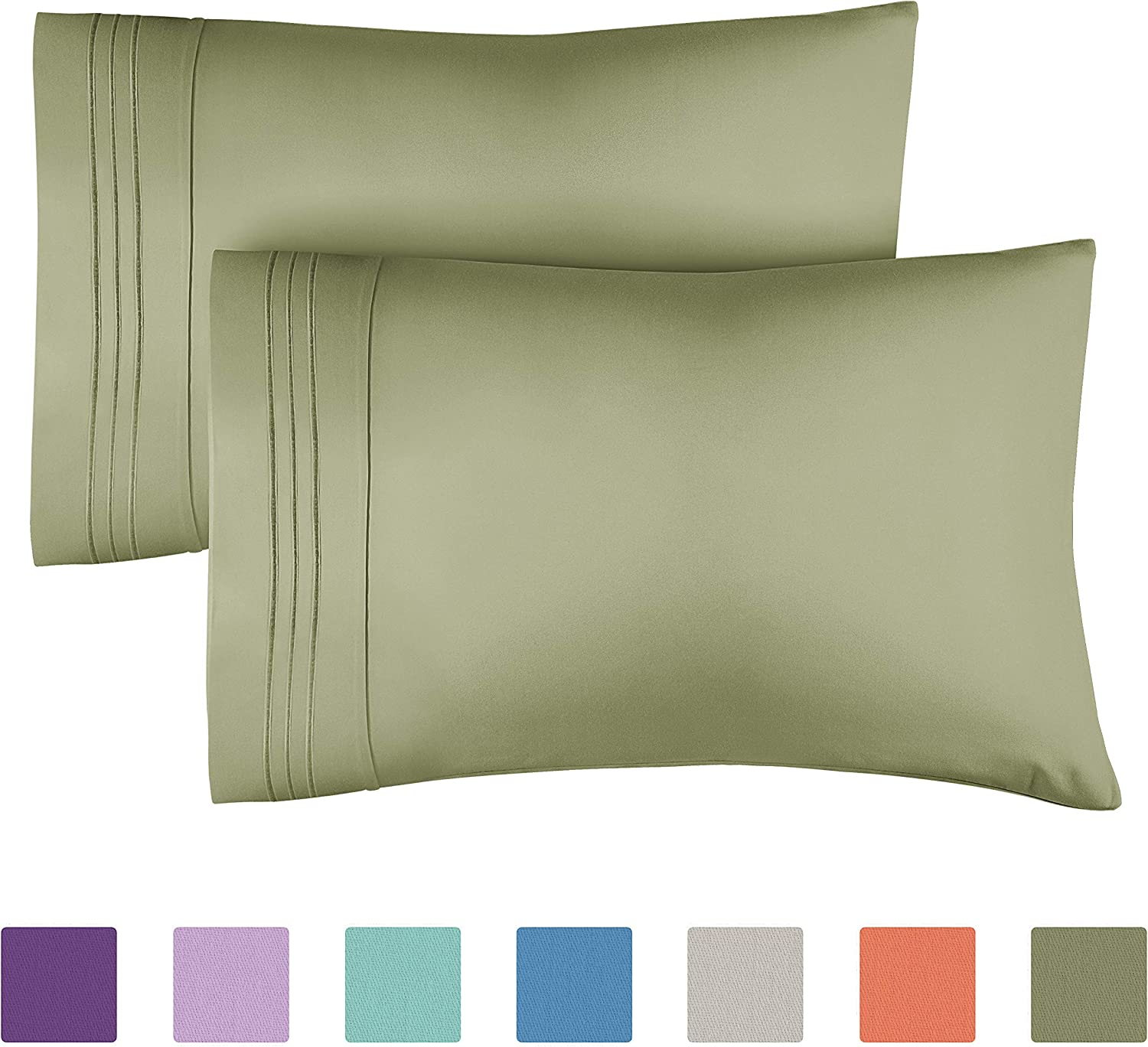 King Size Pillow Cases Set of 2 – Soft, Premium Quality Hypoallergenic Sage Green Pillowcase Pillow Covers – Machine Washable Pillow Protectors – 20x40, 20x36 & 20x48 King Size Pillows for Sleeping 2