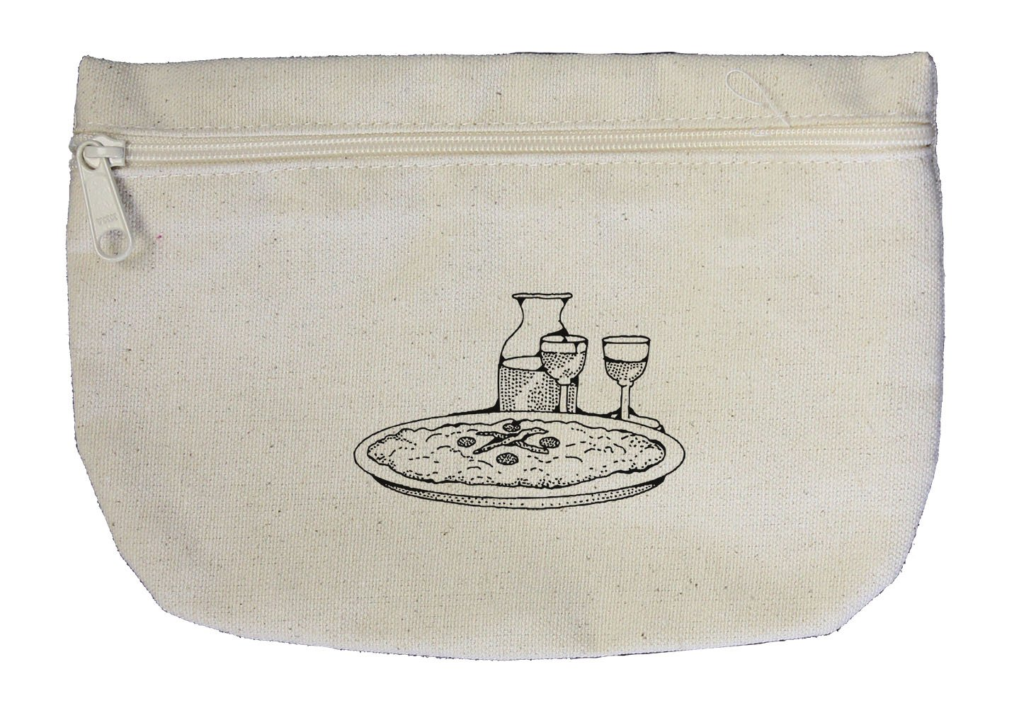 a45a27cd9d77 hot sale 2017 Pizza And Wine Vintage Look Canvas Pouch with Zipper ...