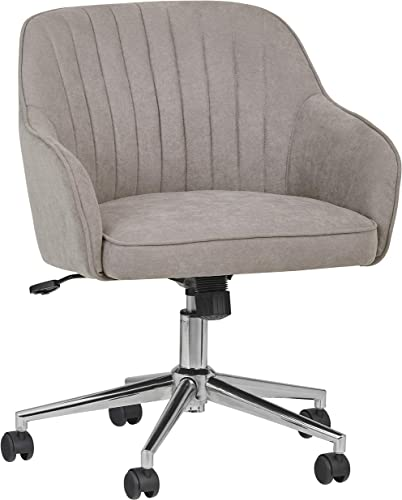 Rivet Modern Upholstered Swivel Chair, 25 W, Gray