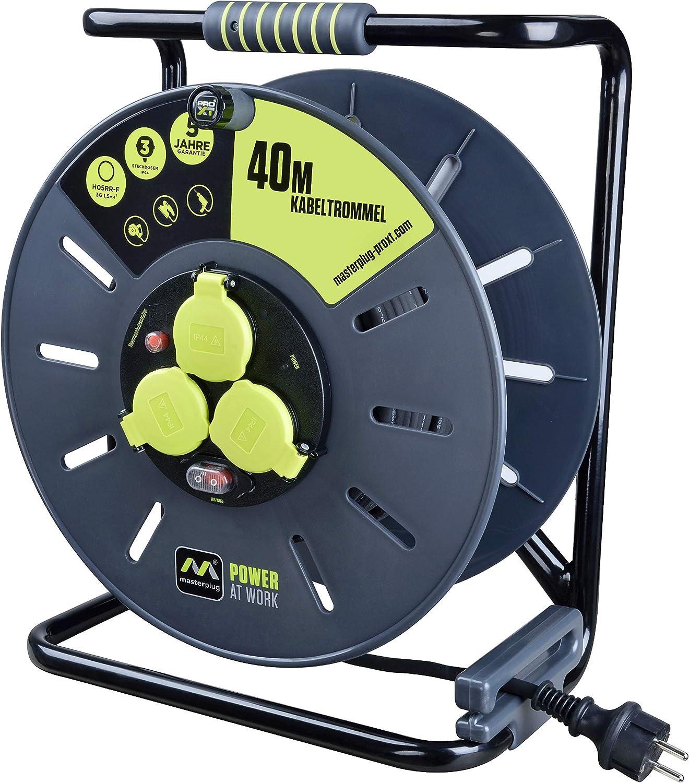 Masterplug Pro Xt Kabeltrommel Verlängerungskabel Mit 3 Ip44 Steckdosen Wickelkurbel Thermoschutz Und Netzschalter 40 Meter Gummikabel Baumarkt