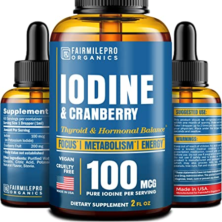 Iоdinе Supplеment for Thyrоid Support - Made in USA - Fast-Absorbing Iоdinе for Energy, Clarity, Metabolism - Liquid Iоdinе Drops - Vegan & Cruelty-Free