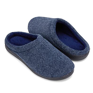 4103ec06ae7 DRSLPAR Men s Mule Felt Slippers Comfort Memory Foam Indoor Outdoor Warm  Slippers (6 7