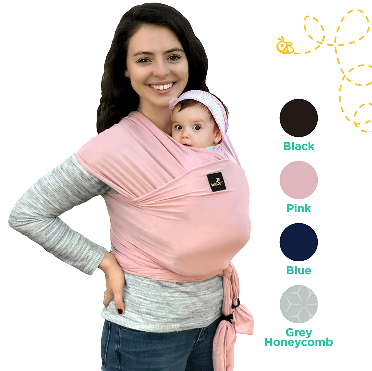 Sweetbee My Honey Wrap - Lightweight, Natural and Breathable Baby Carrier for Newborn