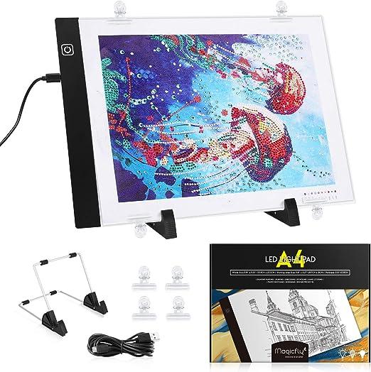 Magicfly Mesa de Luz LED para Calcar Dibujos para Artistas, Dibujantes, A4 Tableta de Luz para Dibujos, Ilustración, Diseño, Cómic, Animación, 3 Modos de Iluminación, Cable USB: Amazon.es: Juguetes y juegos