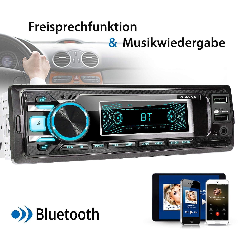 Radio Tuner I Bluetooth Manos Libres y m/úsica I USB y SD 128 GB por Medio XOMAX XM-RD269 Autoradio Radio de Coche con Dab I FM RDS I WMA WAV I AUX-IN I DIN 1 I Marco Integrado