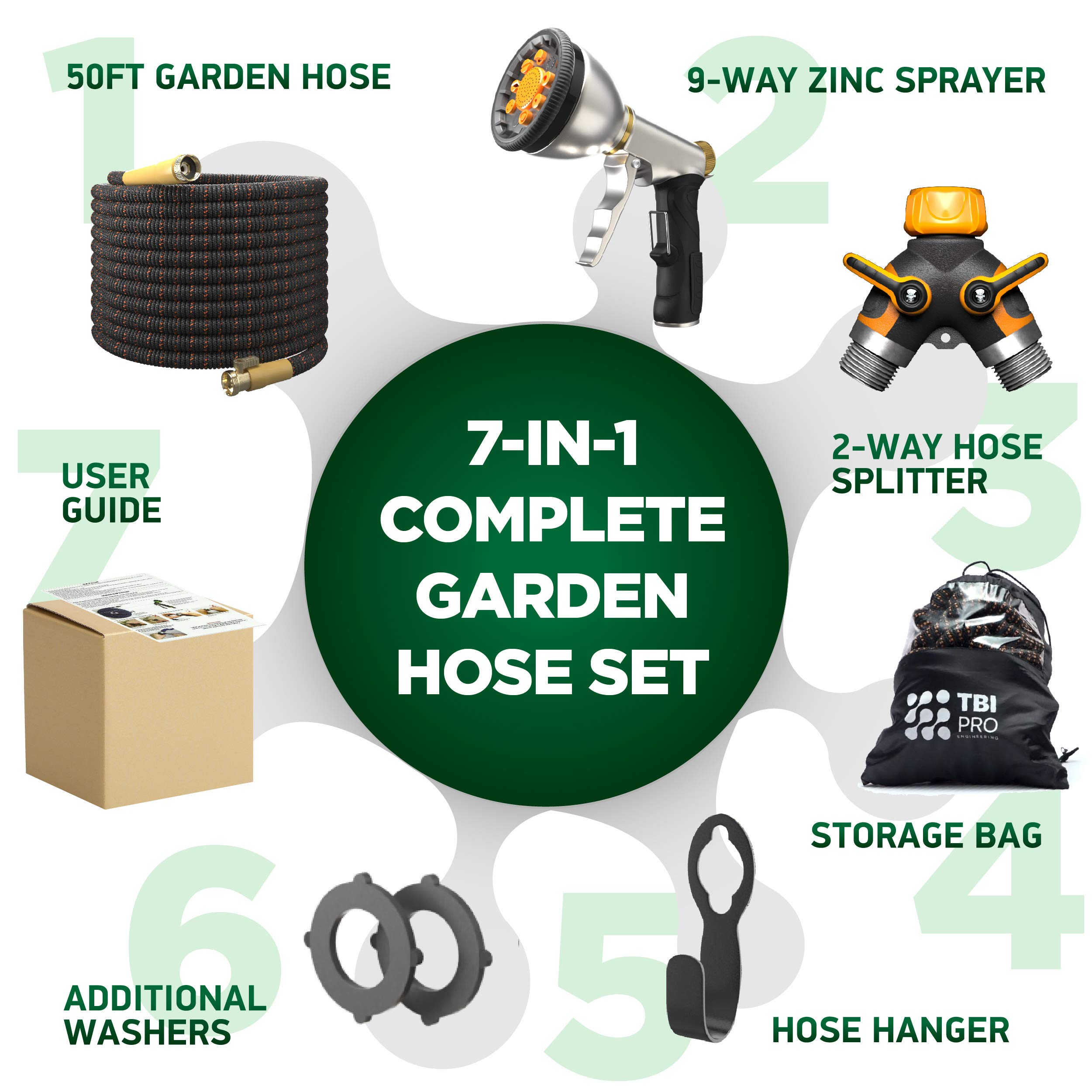 [UPGRADED 2019] 50 Feet Expandable Garden Water Hose - Superior Strength 3750D | 4-Layers Latex | Extra-Strong Brass Connectors | 10-Way Durable Zinc Spray Nozzle, 2-Way Pocket Flexible Splitter by TBI Pro (Image #7)
