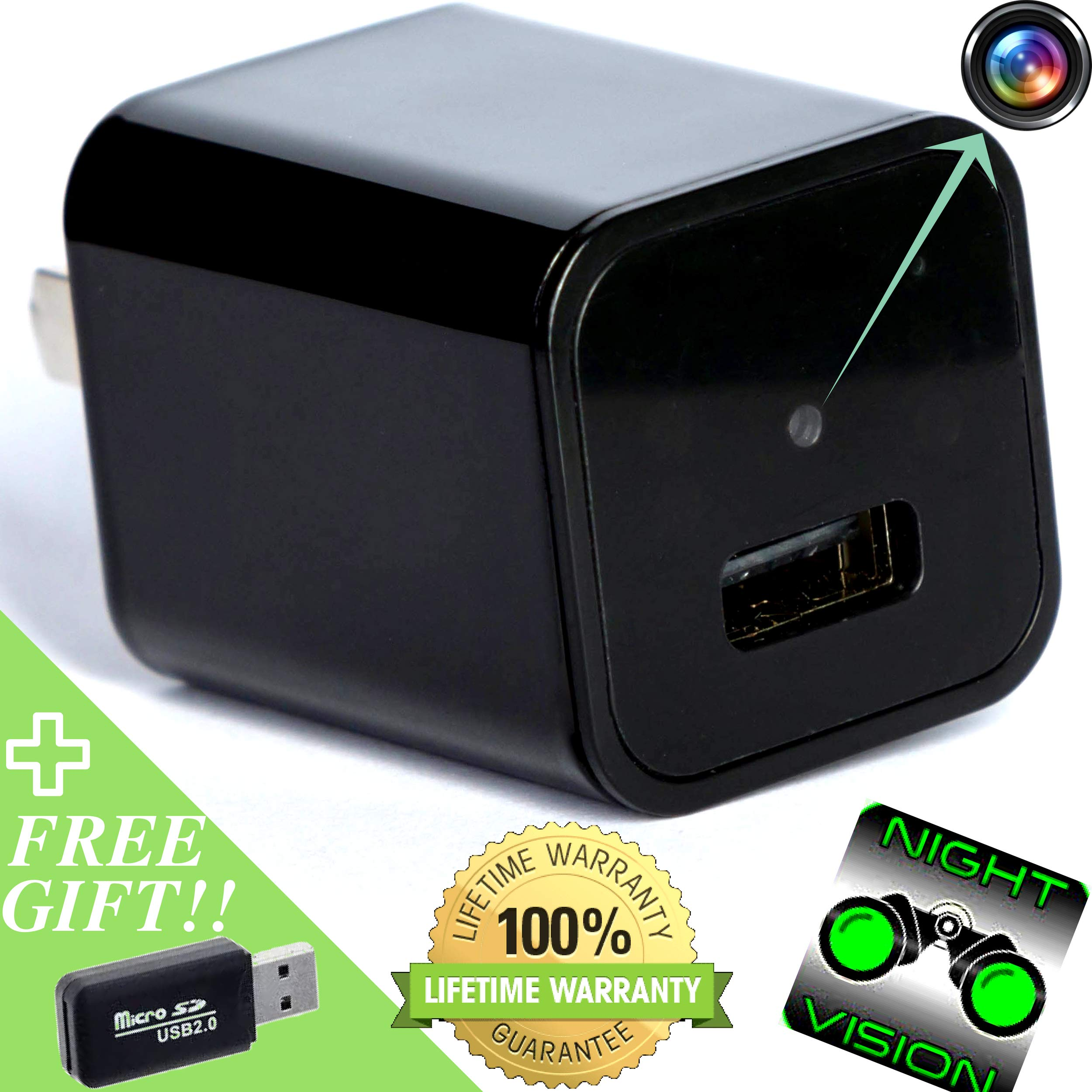 Spy Camera > Hidden Camera > Night Vision HD 1080p Video and Motion Detection for Surveillance Security System Perfect as Nanny Cam USB Wall Charger