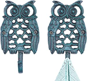 Cast Iron Key Hooks,Heavy Duty Owl Key Hat Hook Metal Hook for Farmhouse with Screws and Anchors 2Pack