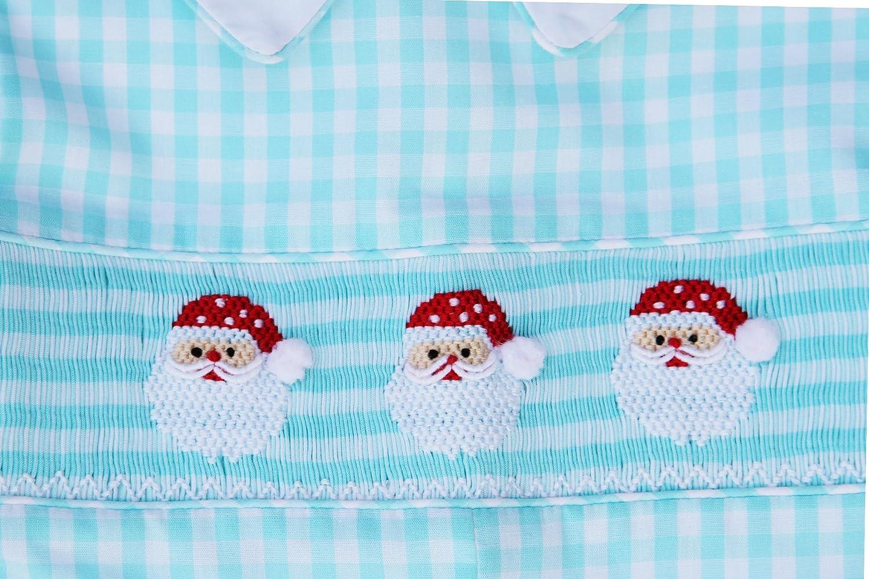 Boys Hand Smocked Santa Christmas Longall with Shirt Overalls