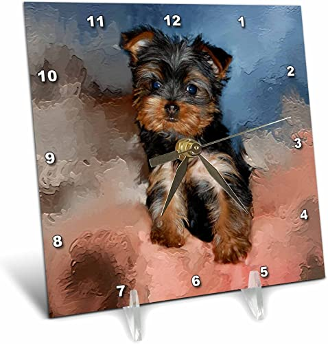3dRose Toy Yorkie Puppy Desk Clock, 6 by 6-Inch