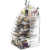 Readaeer Organizador de Maquillaje de cosméticos, Caja de exhibición de Joyas, 4 Piezas, 12 cajones, Blanco (tansparente)