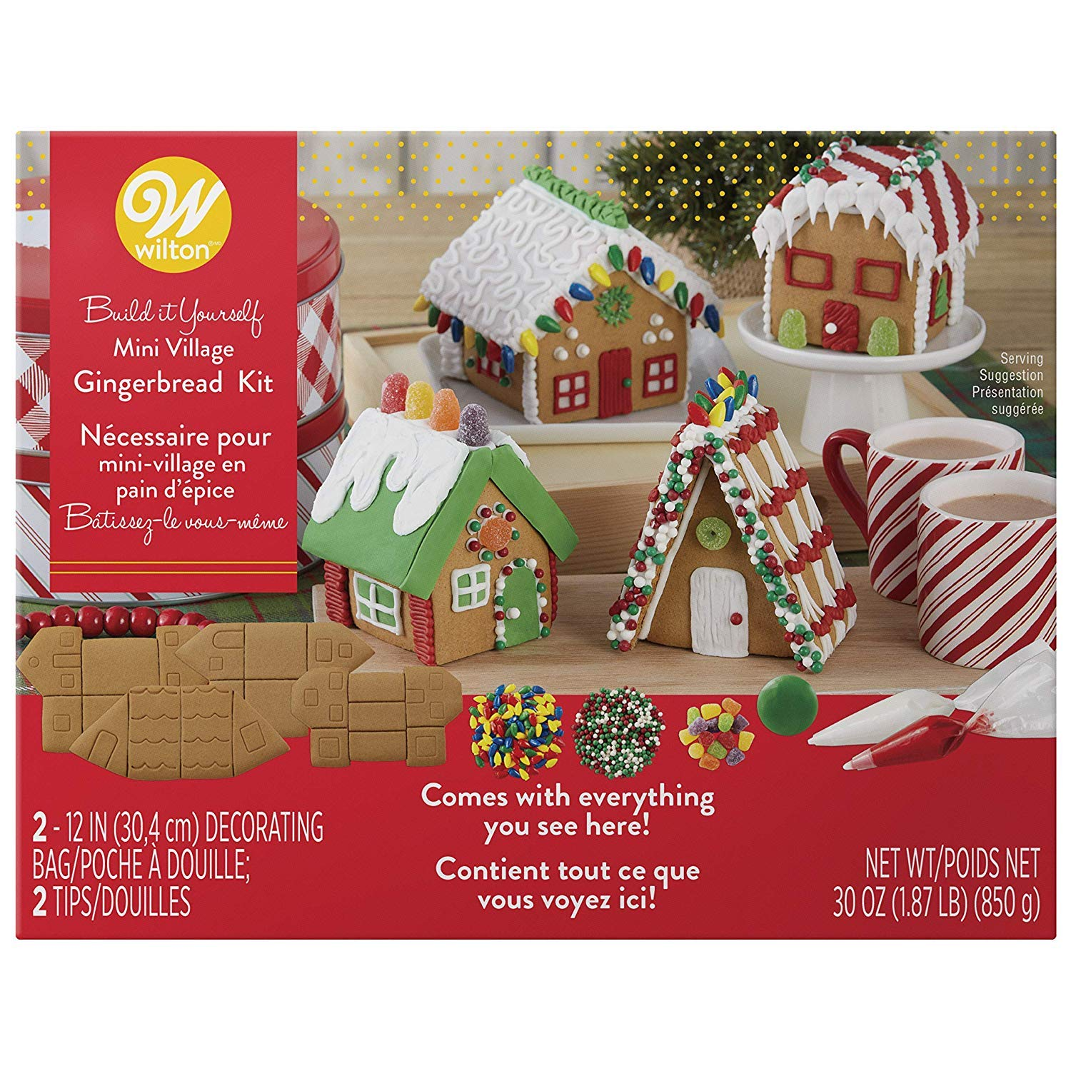Gingerbread House Kit Build It Yourself Mini Village , Christmas Fun  decorating, Kit Includes 4 Sets Of House Panels, 4 Types Of Candies,  Icing,