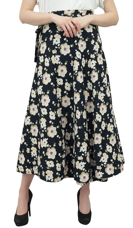 Phagun Wear algodón Indio Impreso Floral Negro Reversible Falda ...