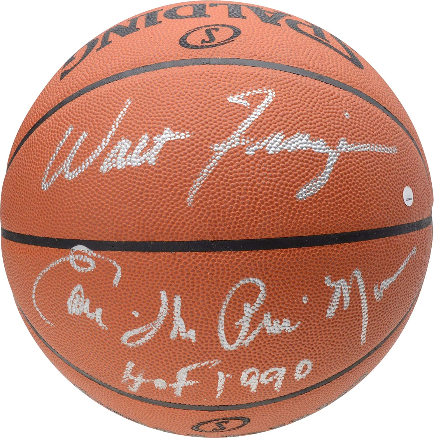 Fanatics Authentic Certified Earl Monroe and Walt Frazier New York Knicks Dual Autographed Spalding NBA Official Game Basketball withHOF 1990 Inscription by Monroe