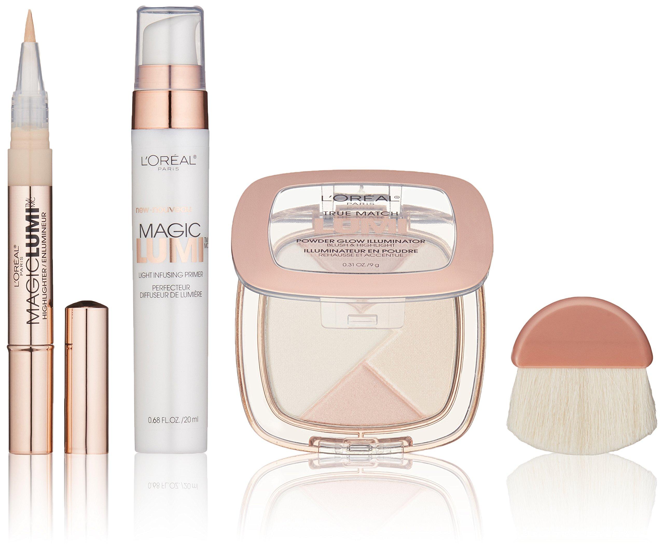 L'Oréal Paris Makeup True Match Lumi Glow Face Gift Set, 3 Pieces, Magic Lumi Primer, Magic Lumi Highlighting Concealer in Light, and True Match Lumi Powder Glow Illuminator in Neutral