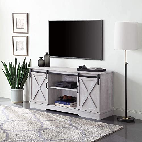 BELLEZE Modern Farmhouse 58″ Sliding TV Stand Console