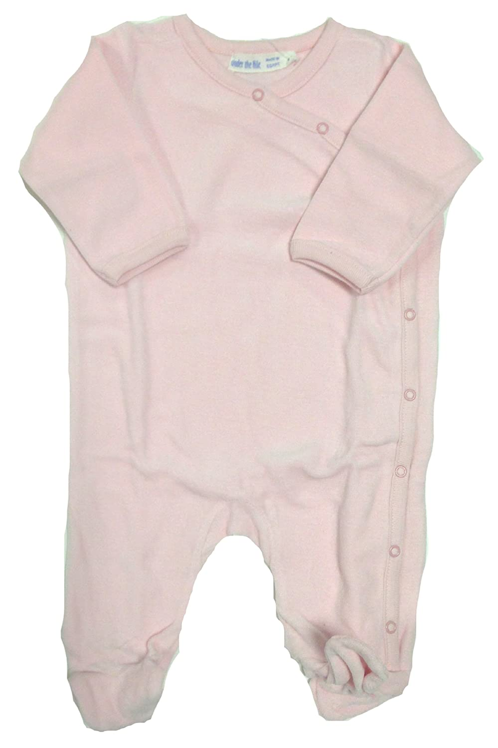 Under the Nile Organic Cotton Velour Footie Solid Pink or Stripe 3-6M