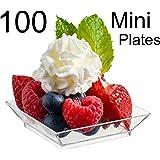 "Zappy 100 Mini Dessert Plates 2.5"" x 2.5"" 100 Square Mini Plates - Disposable Hard Plastic Petite Tasting Sample Plastic Mini Dessert Plates Mini Square Appetizer Plates Clear"