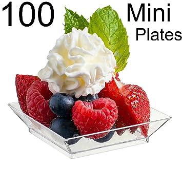 Zappy 100 Mini Dessert Plates 2.5\u0026quot; x 2.5\u0026quot; 100 Square Mini Plates - Disposable  sc 1 st  Amazon.com & Amazon.com | Zappy 100 Mini Dessert Plates 2.5\