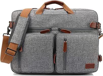 Bolso de hombro CoolBELL convertible en mochila para guardar ordenadores portátiles. Maletín de negocios multi funcional. Mochila de viaje para guardar ordenadores portátiles de 17,3 pulgadas (43,9 cm.) Unisex (Gris)