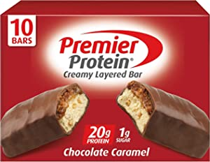Premier Protein 20g Protein bar, Chocolate Caramel, 2.08 Oz, (10 Count) ( Packaging May Vary )