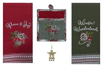 Kay Dee Toallas de Cocina y Soporte de Bolsillo, diseño de Bosque navideño, Color Verde: Amazon.es: Hogar