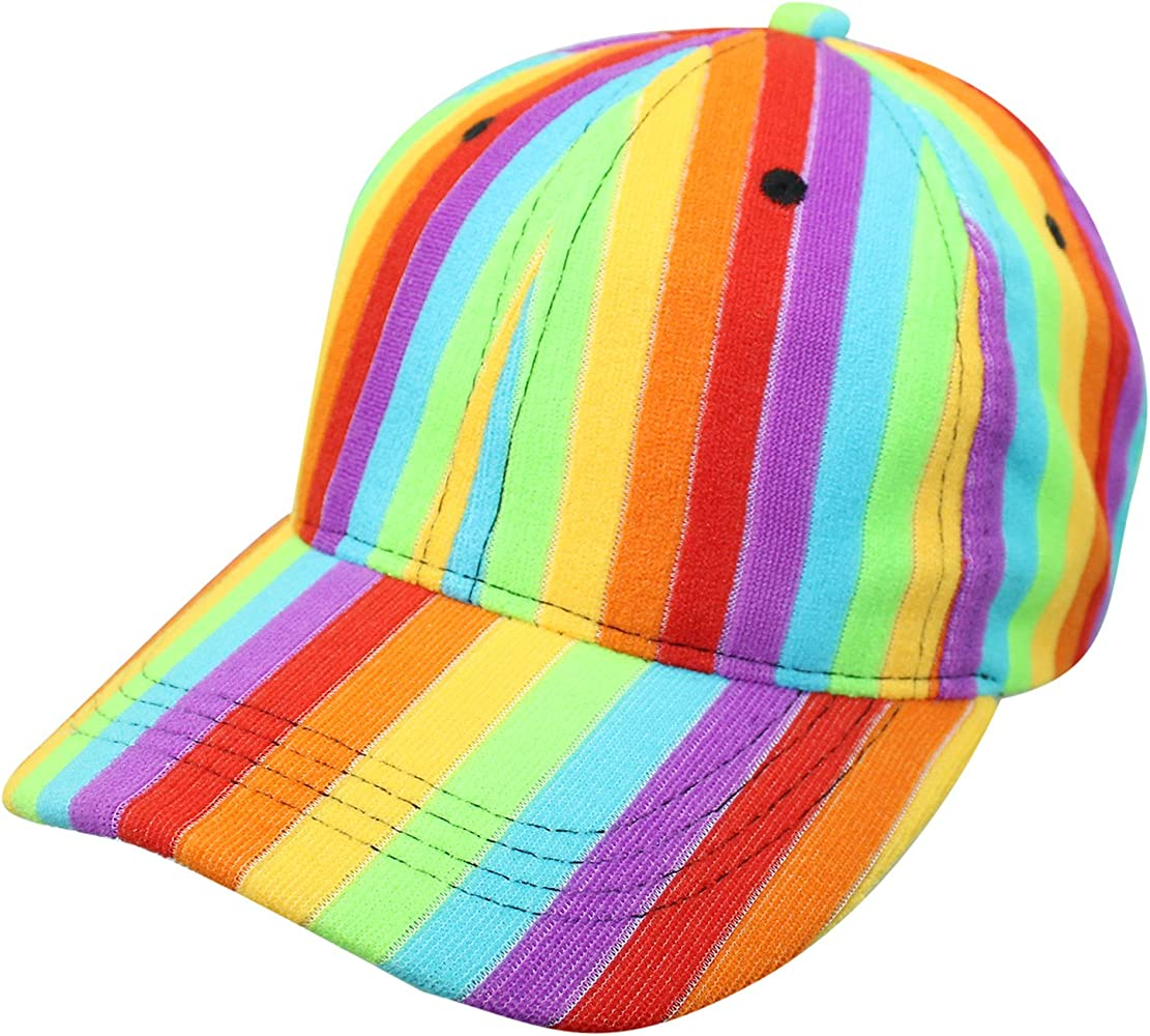 bfdbfdfa Rainbow Striped Baseball Cap Hat at Amazon Women's Clothing store: