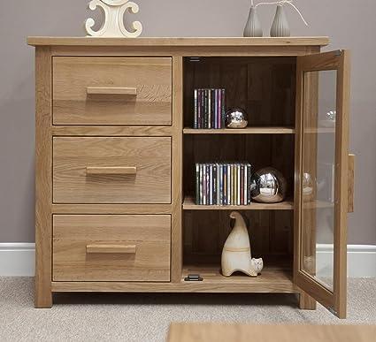 san francisco f0fb0 067fb Eton solid oak furniture small glazed sideboard hi-fi cabinet chest