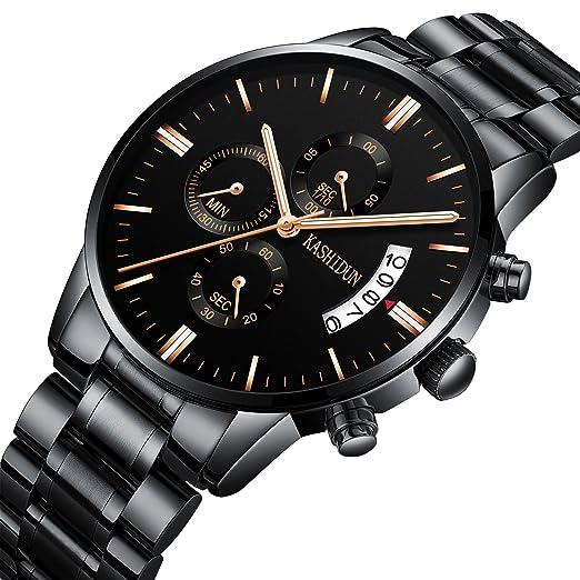 KASHIDUN Relojes Hombre Acero Inoxidable Reloj de Pulsera de Lujo Moda Cronómetro (F 10)