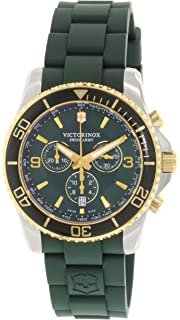 Victorinox Swiss Army Mens Victorinox 241694 Green Silicone Swiss Quartz Watch