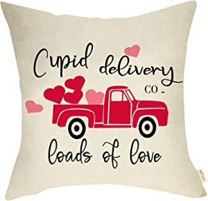 Fjfz Valentines Day Farmhouse Decorative Throw Pillow Cover Red Heart Truck Sign Cupid Delivery Loads of Love Lovers Holiday Decoration Home Décor Cotton Linen Cushion Case for Sofa Couch 18
